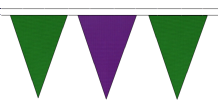 MID GREEN AND PURPLE TRIANGULAR BUNTING - 10m / 20m / 50m LENGTHS